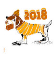 chinese new year 2018 zodiac dog happy new year vector image vector image