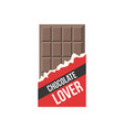 chocolate bar icon and badge chocolate lover vector image vector image