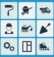 construction icons set with wall painter vector image
