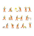 construction worker character in various poses vector image