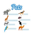 crossword puzzle game with animals vector image