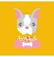 cute doggy girl with food bowl vector image