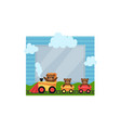 cute photo frame with toy train album template vector image