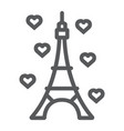 eiffel tower line icon france and paris vector image vector image