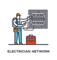electrician conducts electricity in the electrical vector image