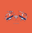 file transfer isometric banner remote connection vector image