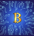 golden bitcoin currency on blue background vector image vector image