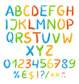 Grunge painted alphabet with numbers and symbols vector image vector image