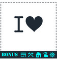 i love icon flat vector image vector image