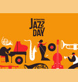 jazz day poster of retro music band instruments vector image vector image
