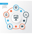 job icons set collection of statistics vector image vector image