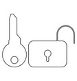 key and lock the black color icon vector image vector image