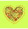 Love card Green orange heart design with abstract vector image vector image