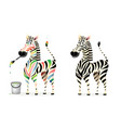 monochrome and drawing colors zebra animals mascot vector image