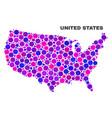 mosaic united states map of circle dots vector image vector image