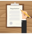 negotiation concept agreement with hand hold vector image