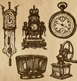 old objects no5 - hand drawn collection vector image