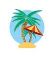 palms trees with umbrella beach vector image