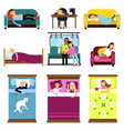 people sleeping at home at work in transport set vector image vector image