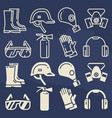 personal protective equipment icons set - safety vector image