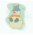 retro christmas snowman card vector image