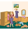 Retro girl with dress in the room vector image vector image