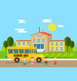 school bus school education and science concept vector image