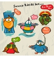 Set of 5 funny cartoon birds vector image