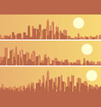 set of banners with big city at sunset vector image