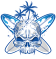skull on surfboard background vector image vector image