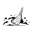 small broom sweep floor black and white vector image vector image