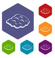 small cloud icons set hexagon vector image vector image