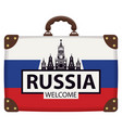 suitcase with russian flag and the kremlin vector image vector image
