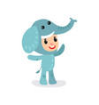 toddler child in blue elephant jumpsuit little vector image