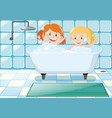 two girls taking bubble bath vector image vector image