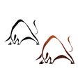 Two silhouette wild bull vector image vector image