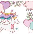 unicorn fantasy drawing cartoon vector image