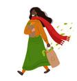 walking happy hygge african american woman vector image vector image