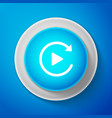 white video play button like simple replay icon vector image vector image