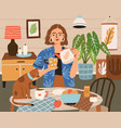 woman pouring tea into cup at cozy home interior vector image vector image