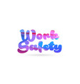 work safety pink blue color word text logo icon vector image