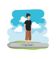 young man with ski mask in the road vector image vector image