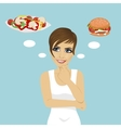 young woman choosing between hamburger and salad vector image vector image
