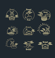 Bakery logo set Pastry logo Bread and baguette vector image