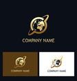 world orbit gold technology logo vector image
