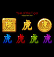 2022 new year golden chinese characters tiger vector image vector image
