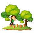a boy jumping on the wood vector image vector image