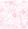 ballpoint pen drawing hearts seamless pattern vector image vector image