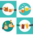 beer cheers bottles glass banner set flat style vector image