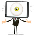 big brother eye in mobile phone head vector image
